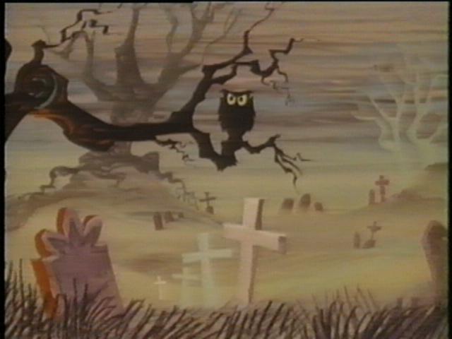 """Owl in cemetery scene in """"Mr. Magoo's Christmas Carol."""""""
