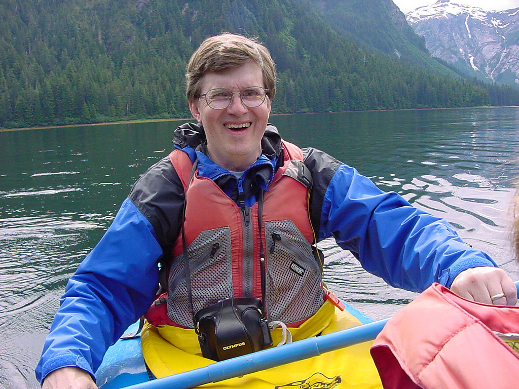 Laura's husband in a kayak