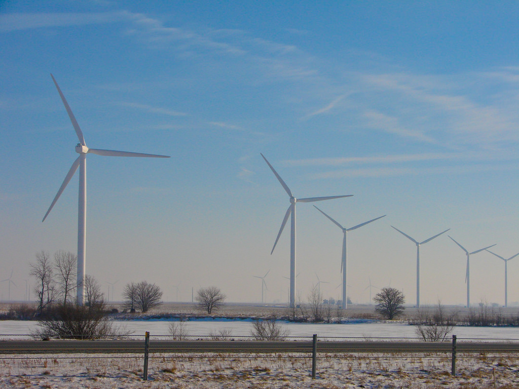 Wind turbines in an Indiana farm field